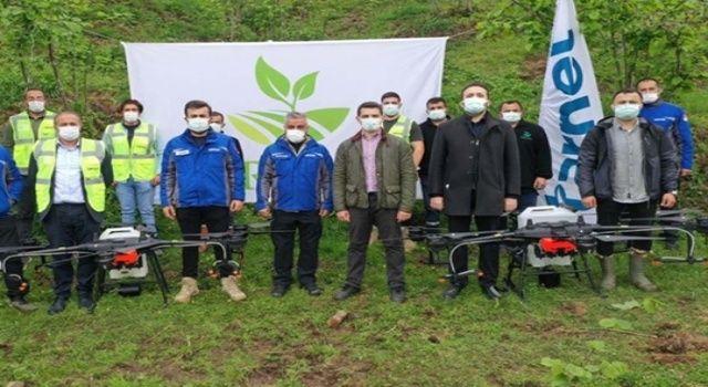Fındık bahçeleri, zirai insansız hava araçlarıyla ilaçlanıyor