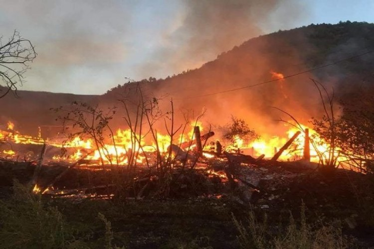 Köye Sıçrayan Yangında 9 Ev, 1 Ahır Yandı