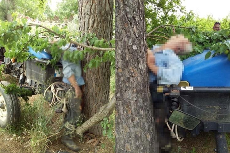 Traktör İle Ağaç Arasında Kaldı, Feci Şekilde Can Verdi