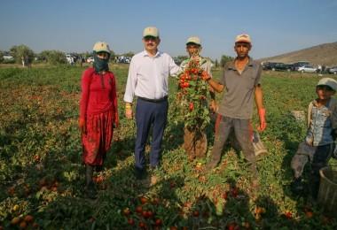 Bakan Pakdemirli Tarlada Tarım İşçileriyle Bir Arada