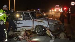 Otomobil koyun sürüsüne daldı: 30 koyun öldü