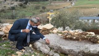 Başkan Bozdoğan ceviz büyüklüğünde yağan dolu'nun bölgeye verdiği zararı yerinde inceledi
