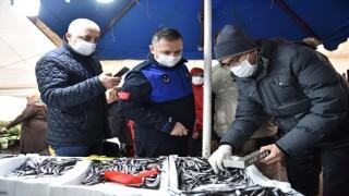 Tuzla'da Balık Tezgâhlarına Hamsi Boyu Denetimi